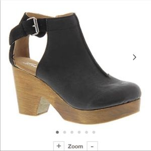 Free People Black Leather and Suede Clogs Size 40